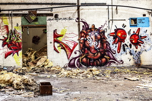 Normandie - Urbex - Filature - Tag en fresque